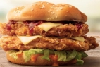 Double fried chicken cheese burger